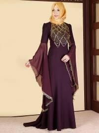Purple - Maroon - Unlined - Crew neck - Muslim Evening Dress