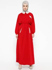 Red - Point Collar - Unlined - Dresses
