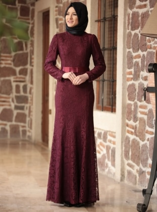 Maroon - Fully Lined - Round Collar - Muslim Evening Dress
