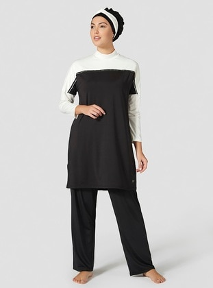 Black - White - Plus Size Swimsuit - Mayovera