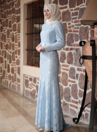 Blue - Fully Lined - Round Collar - Muslim Evening Dress