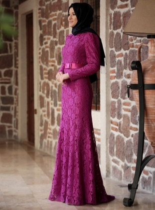 Purple - Fully Lined - Round Collar - Muslim Evening Dress
