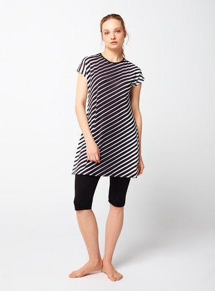 Black - Stripe - Half Covered Switsuits