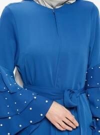Mavi - Astarsız kumaş - Yuvarlak yakalı - Ferace