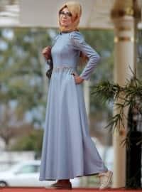 Kot Görünümlü Elbise - Açık Mavi - Nurkombin