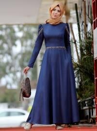 Kot Görünümlü Elbise - Mavi - Nurkombin