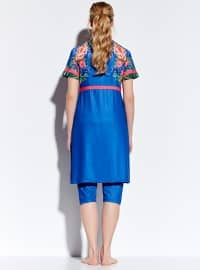 Blue - Floral - Half Covered Switsuits