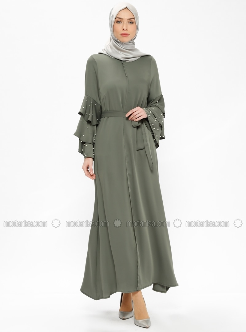 5c8d49878b9b1 Shoptagr | Khaki Unlined Crew Neck Abaya Filizzade by Modanisa
