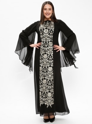 Black - Multi - Fully Lined - Crew neck - Modest Plus Size Evening Dress