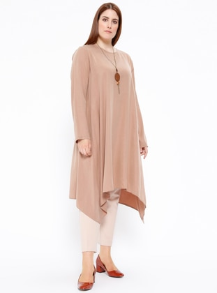 Beige – Crew Neck – Plus Size Tunic – Puane