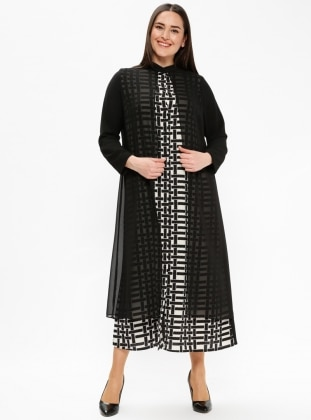 Black - White - Multi - Unlined - Button Collar - Plus Size Dress