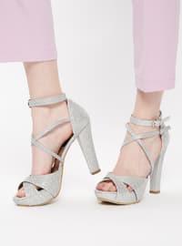 Abiye Topuklu Ayakkabı - Gümüş - DERİGO