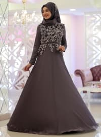 Ayla Şifon Abiye Elbise - Lila - Gamze Özkul