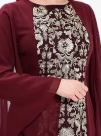 Purple - Maroon - Multi - Fully Lined - Crew neck - Muslim Plus Size Evening Dress