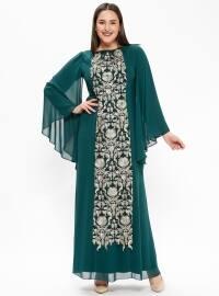 Nakış Detaylı Abiye Elbise - Zümrüt - Arıkan