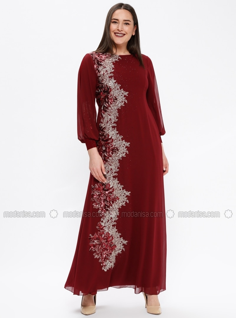 Maroon - Multi - Fully Lined - Crew neck - Muslim Plus Size Evening Dress