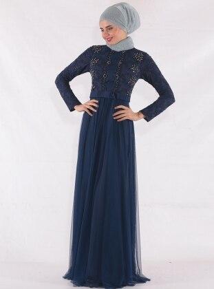 Navy Blue - Fully Lined - Crew neck - Muslim Evening Dress - Mileny 416873