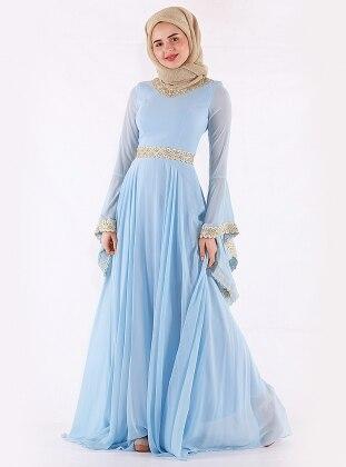 Blue - Fully Lined - Crew neck - Muslim Evening Dress - Mileny 416868