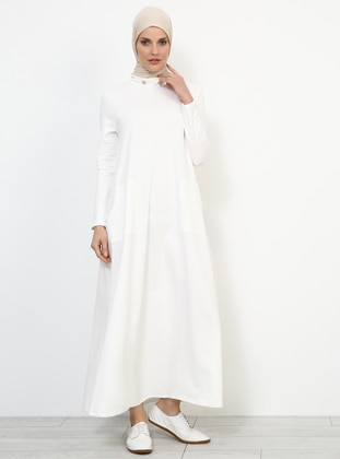 Ecru - Polo neck - Unlined - Dresses