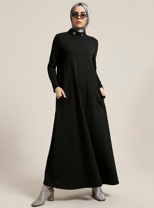 Black - Polo neck - Unlined - Dresses