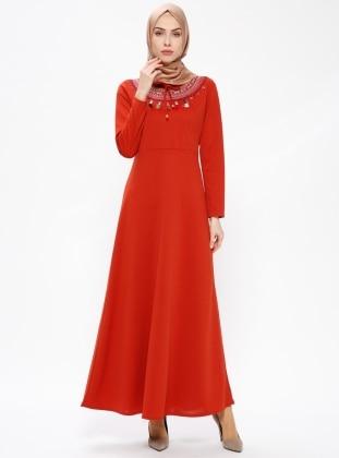 Nakışlı Elbise - Kiremit - AKABE MODA Ürün Resmi