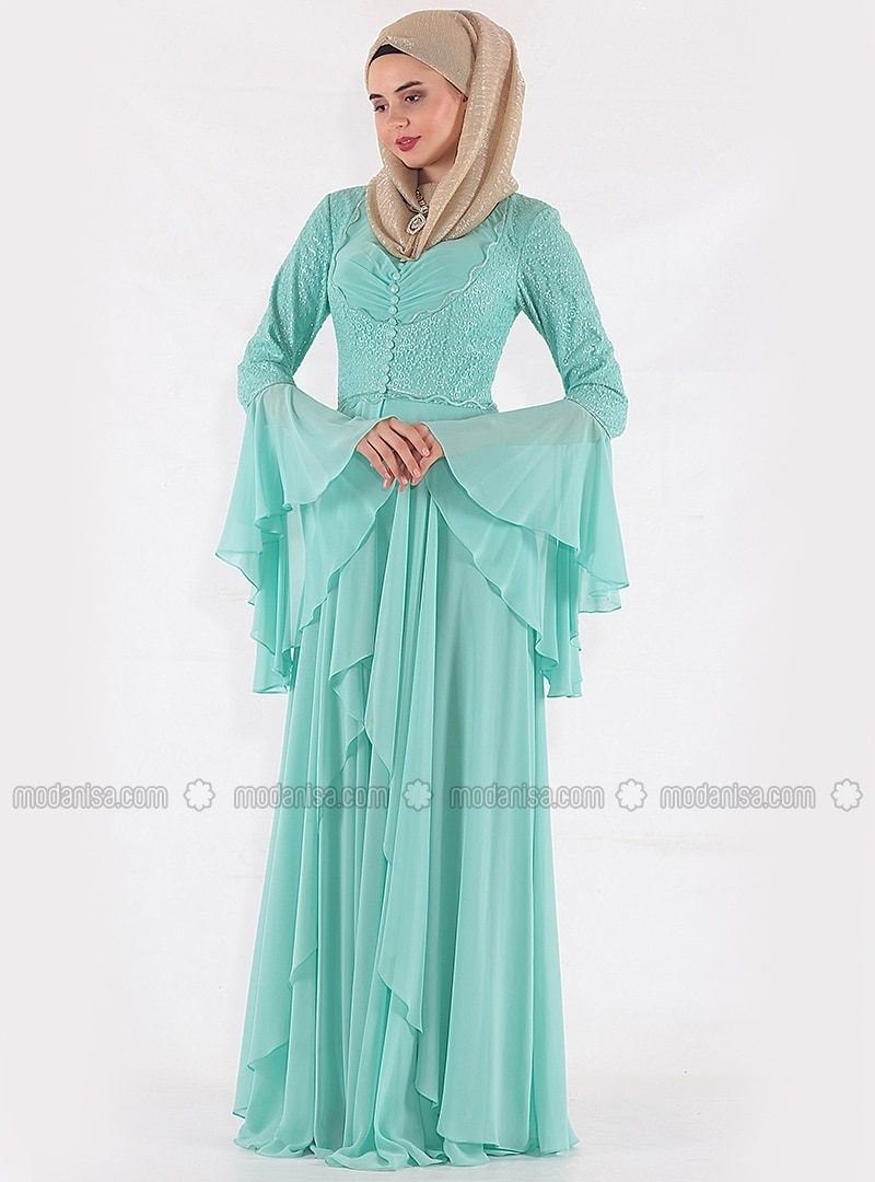 Green - Mint - Fully Lined - V neck Collar - Muslim Evening Dress