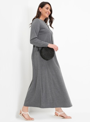 Gray - Anthracite - Smoke-coloured - Unlined - Crew neck - Plus Size Dress