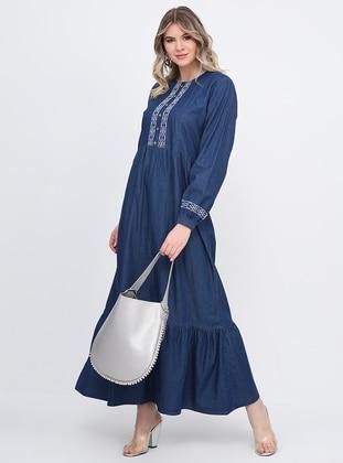 Blue - Unlined - Crew neck - Cotton - Denim - Plus Size Dress