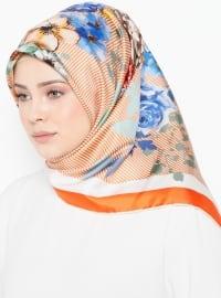 Multi - Floral - Printed - %100 Silk - Scarf