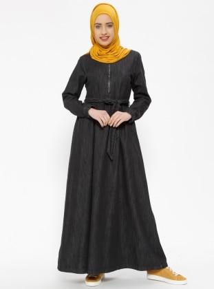 Black - Crew neck - Unlined - Denim - Dresses