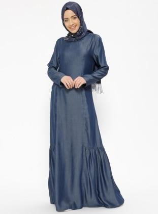 Blue - Crew neck - Unlined - Denim - Dresses