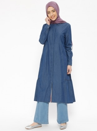 Blue - Point Collar - Denim - Tunic