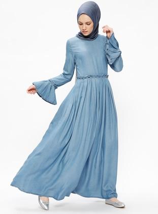 Taşlı Tensel Elbise - Mavi - Neways Ürün Resmi