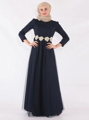 Navy Blue - Muslim Evening Dress - Mileny 417593