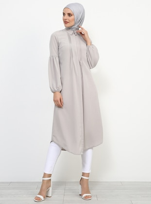 Gray - Beige - Point Collar - Tunic - Refka