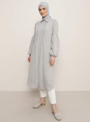 Gray - Beige - Point Collar - Tunic