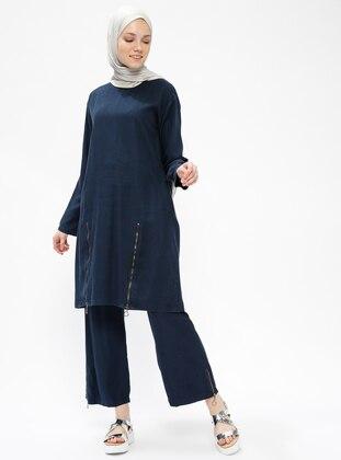 Navy Blue - Unlined - Denim - Suit