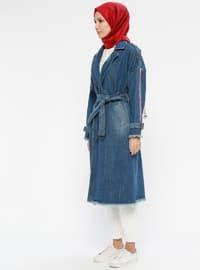 Blue - Unlined - Shawl Collar - Denim - Trench Coat