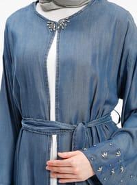 Blue - Unlined - Crew neck - Denim - Jacket