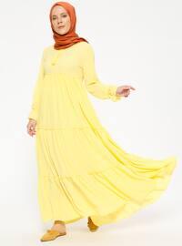 Fırfırlı Elbise - Sarı - Beha Tesettür