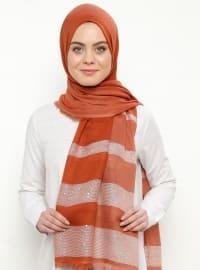 Orange - Tan - Striped - Cotton - Viscose - Shawl