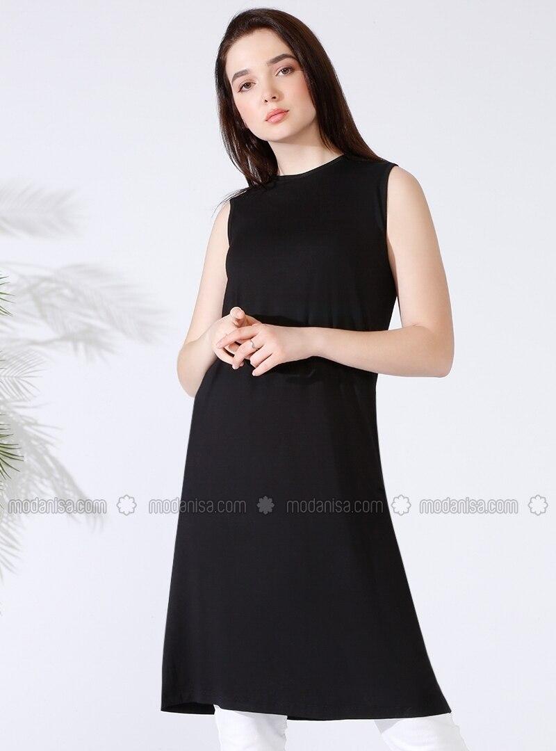 Black - Crew neck - Black - Crew neck - Plus Size Tunic d6d427d52