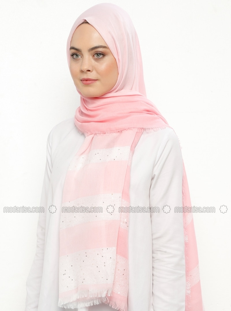 Pink - Striped - Cotton - Viscose - Shawl