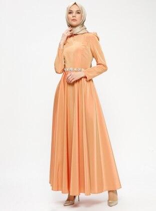 Orange - Unlined - Crew neck - Muslim Evening Dress