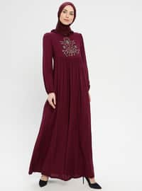 Purple - Crew neck - Unlined - Dress - BAGİZA