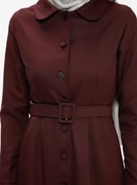 Maroon - Unlined - Round Collar - Topcoat