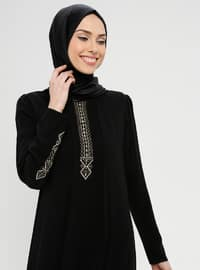 Black - Crew neck - Unlined - Dress - BAGİZA