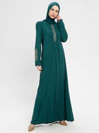 Green - Crew neck - Unlined - Dress - BAGİZA