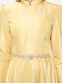 Yellow - Unlined - Crew neck - Muslim Evening Dress