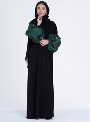 Green - Black - Unlined - V neck Collar - Abaya